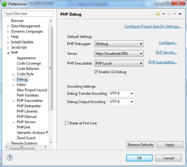 zendstudio xdebug configuration