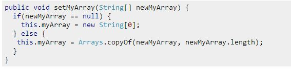 Copy the Array as a Fix for the Security Violation