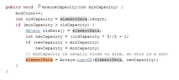 ensureCapacity Method to Handle ArrayList Size