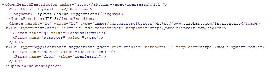 flipkart opensearchdescription xml file