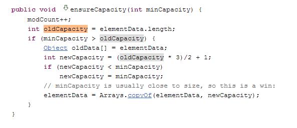 ensureCapacity Method to Handle ArrayList Size1