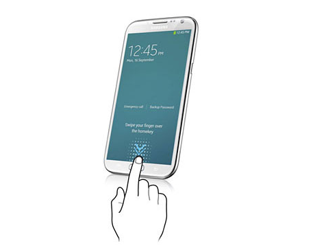 Figure representing fingerprint scanning (courtesy: Samsung Page)