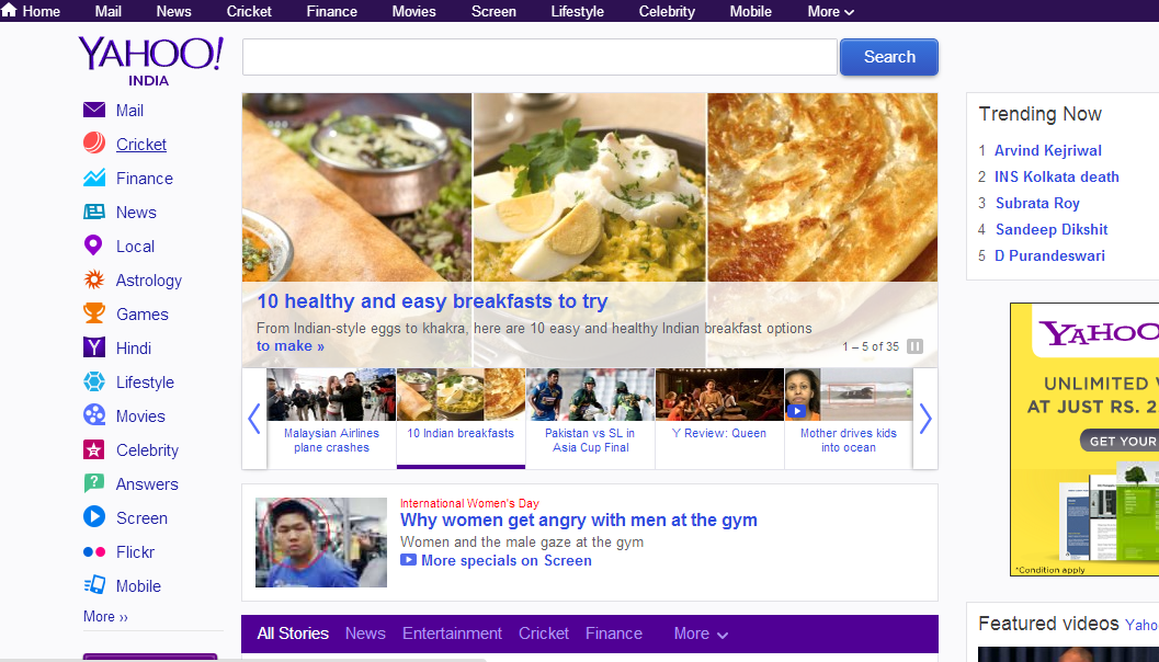 revamped yahoo homepage for indian users