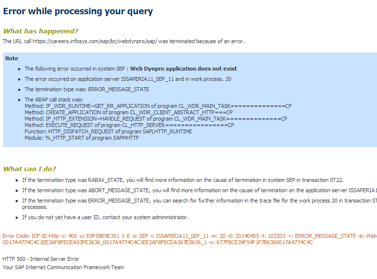 SAP Exception Page