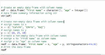 Learn R – How to Create Data Frame with Column Names