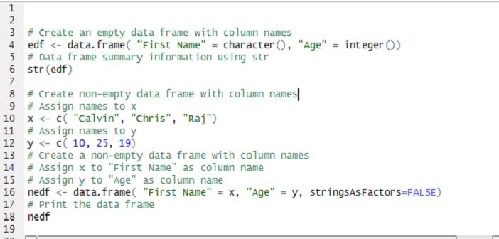 Learn R - How to Create Data Frame with Column Names - Reskilling IT
