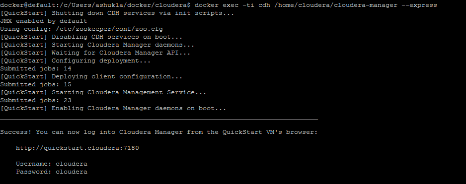 Cloudera starts in a docker container