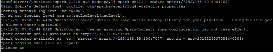 Starting Spark Shell Program within Docker Container