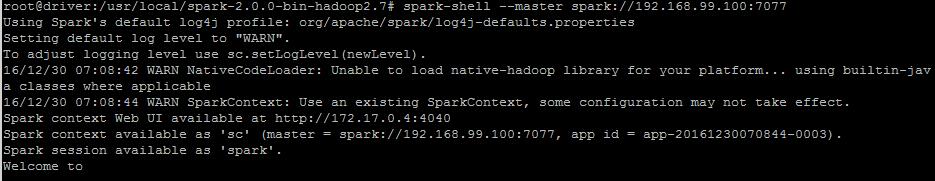 Starting Spark Shell Program within Docker Container