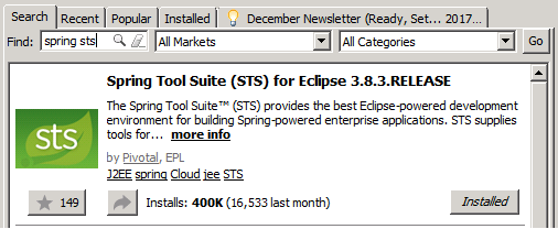 Download Spring STS from Eclipse Marketplace