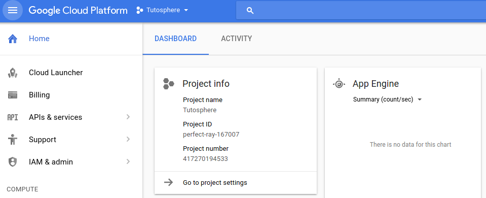Google Cloud Console Dashboard
