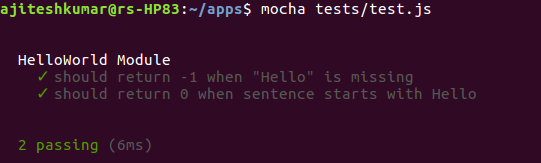 Mocha Unit Tests Results
