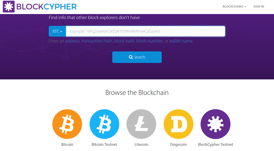 Blockcypher Bitcoin Explorer