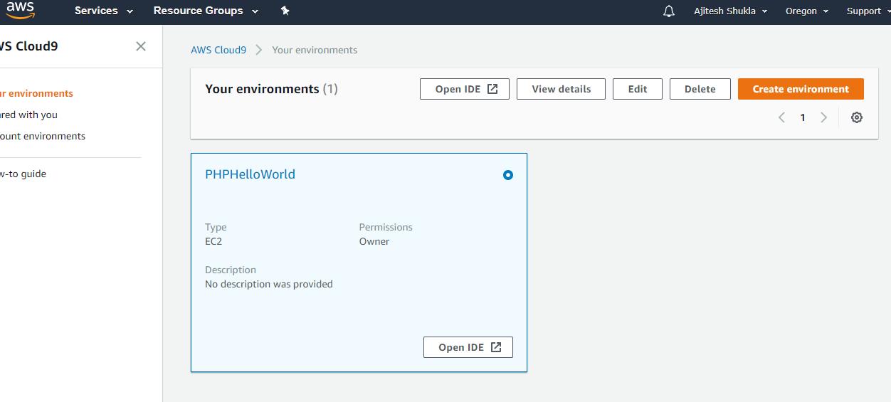 AWS Cloud9 IDE Dashboard