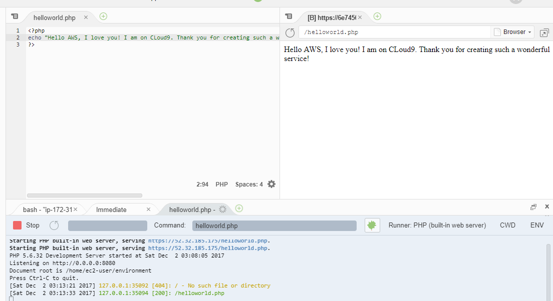 Preview PHP Helloworld web application in Cloud9