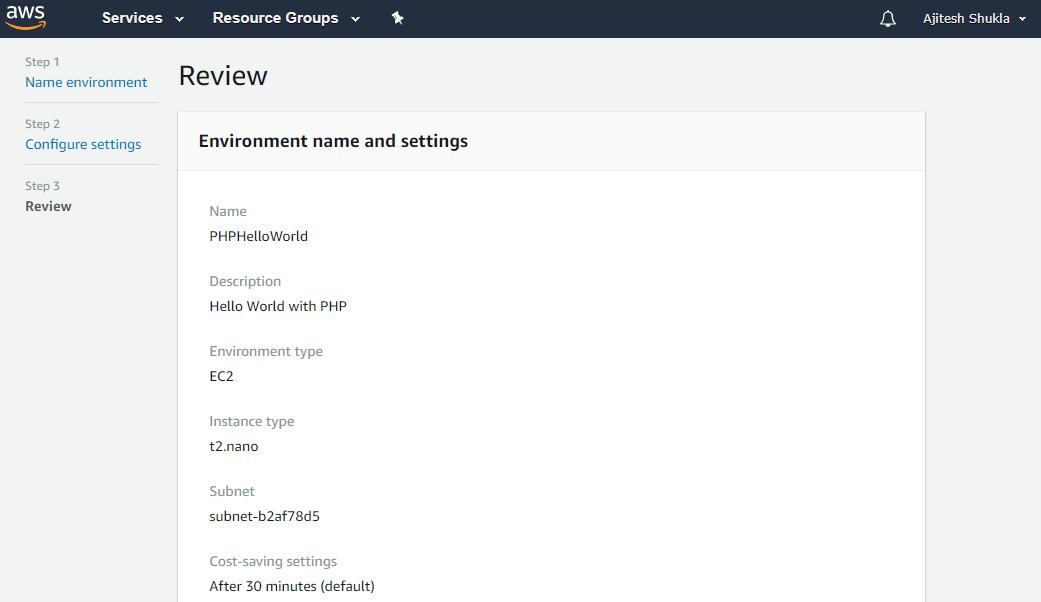 Review AWS Cloud9 Environment