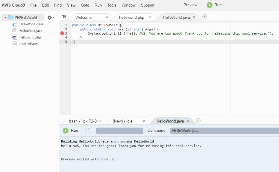 Java HelloWorld using Cloud9 IDE