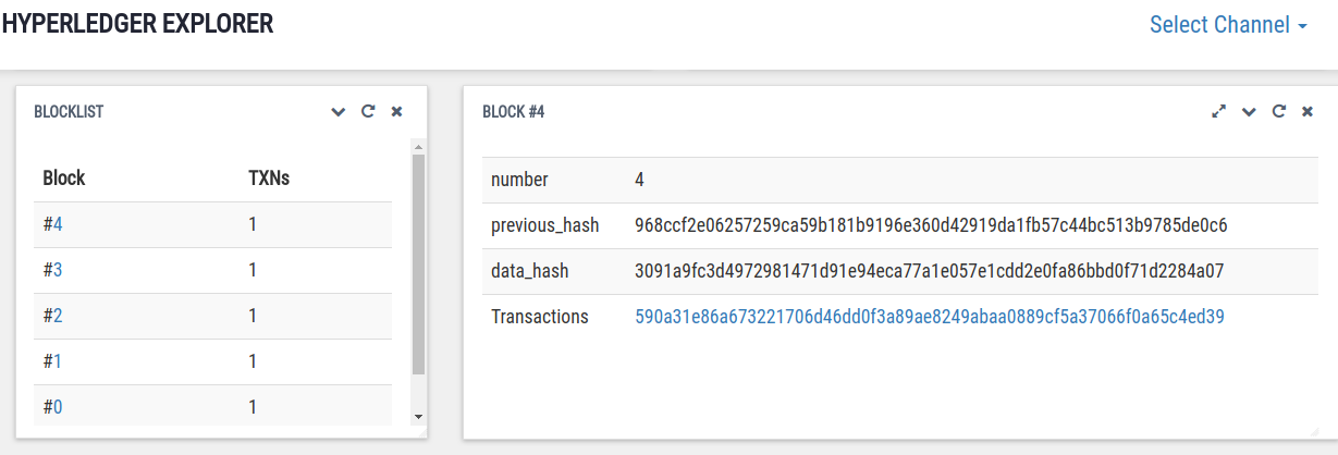 Hyperledger Explorer Blocks Information