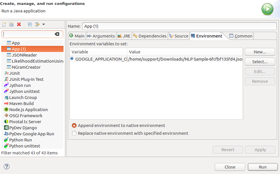 Configure Eclipse Project Runtime Environment Variable