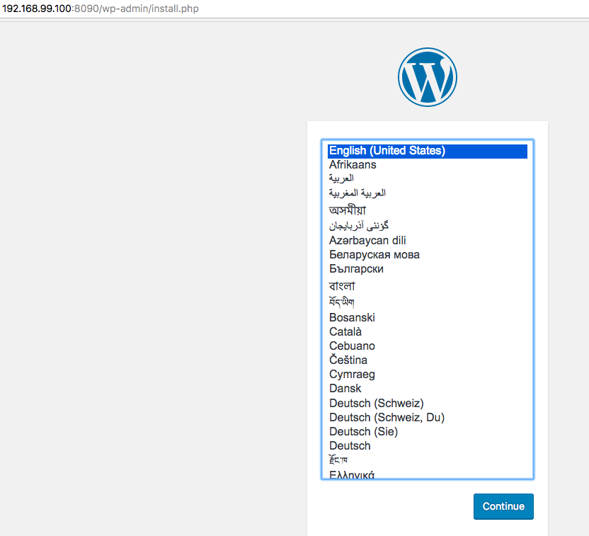 Wordpress Installation from Browser