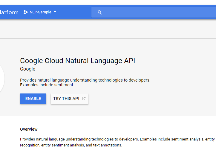 google cloud natural language api - enable project