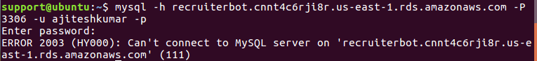 aws 2003 error - can not connect to mysql rds server