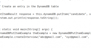 dynamodb putitem example in Java