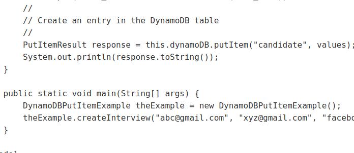 AWS DynamoDB PutItem Java Example to Create Items