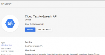 Enable Google Cloud Text-to-Speech Service