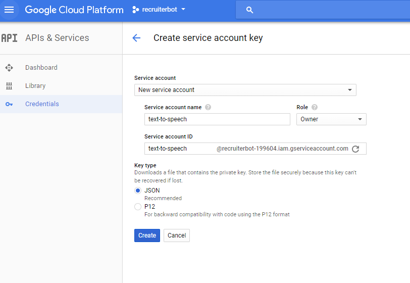 Google Cloud Service - Create Service Account Key