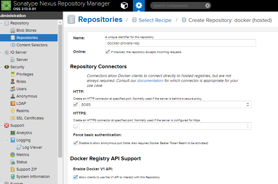 Create Nexus Repository with Docker Hosted Option