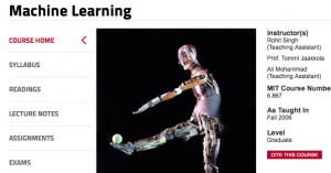 MIT Opencourseware Machine Learning
