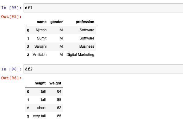 Dataframes - How to append columns