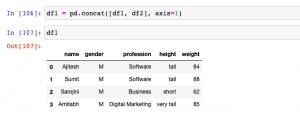 Append columns to the data frame