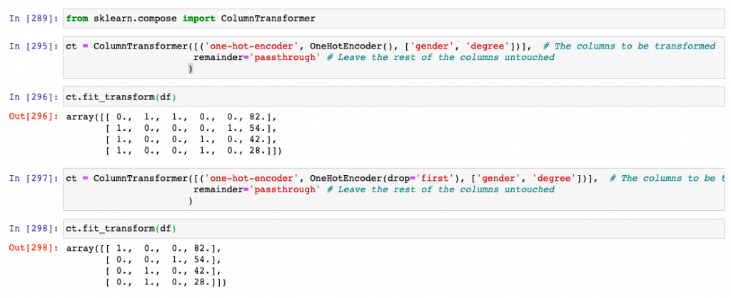 ColumnTransformer for transforming categorical features using OneHotEncoder