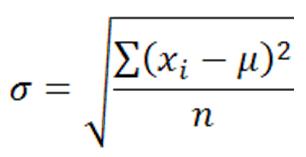 Standard Deviation for population of Size n