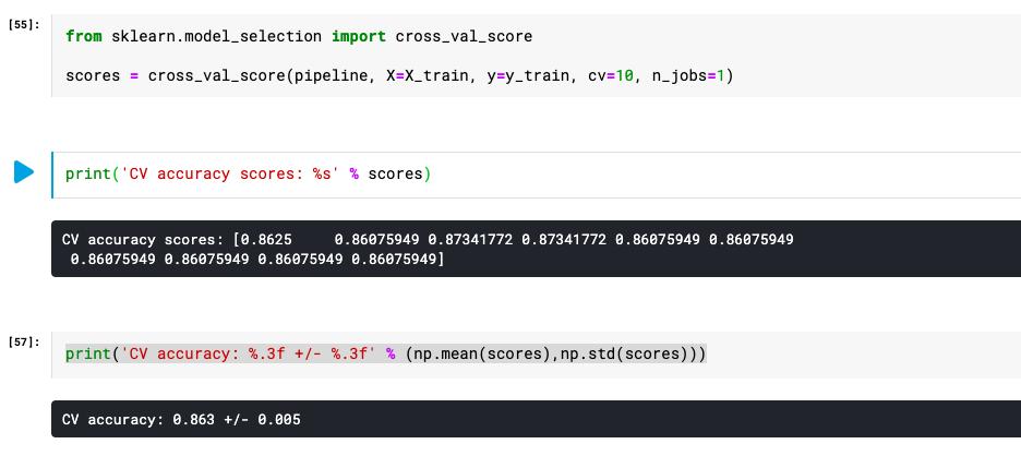 Sklearn.model_selection method cross_val_score used for K-fold cross validation