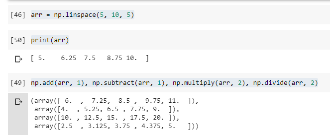 Numpy Unary Arithmetic Functions