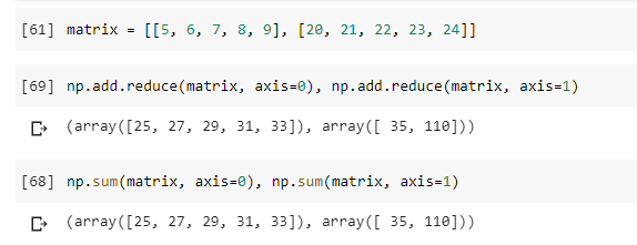 Numpy Unary functions to sum rows and columns