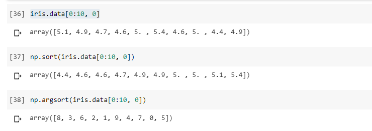 Numpy unary functions for sorting