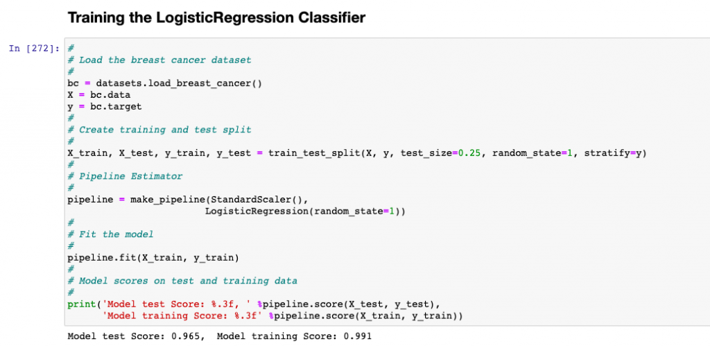 LogisticRegression Classifier fit with breast cancer dataset