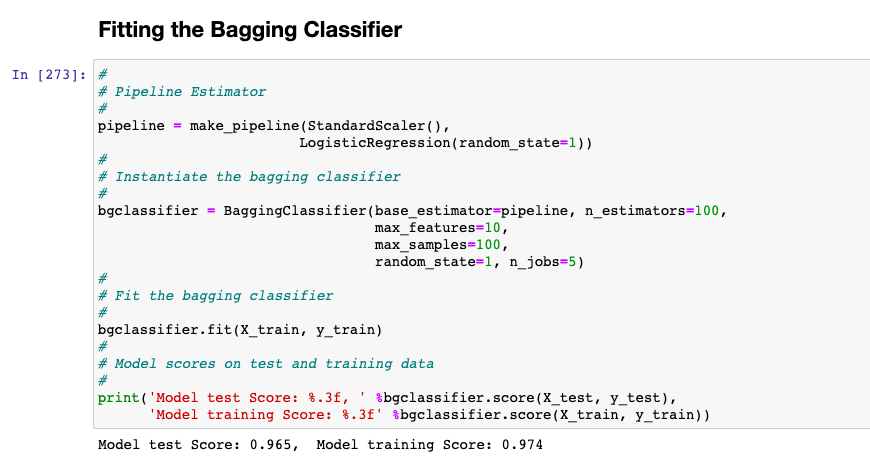 Bagging Classifier fit with breast cancer dataset with base estimator as Logistic Regression