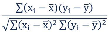correlation coefficient formula
