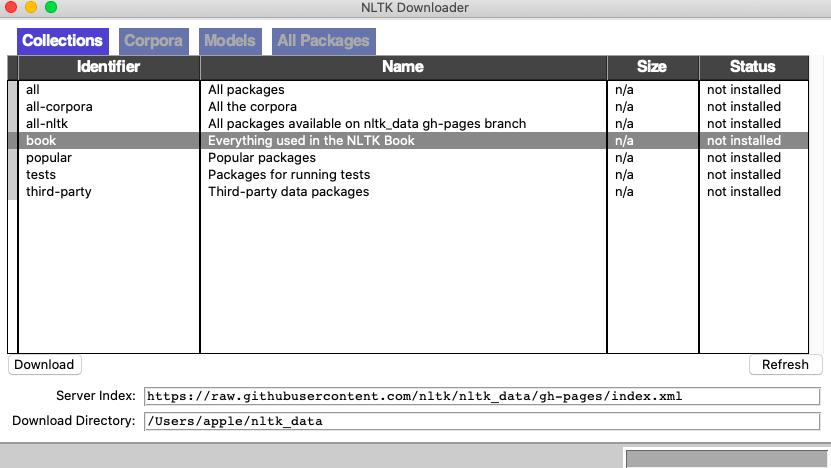 NLTK downloader utility