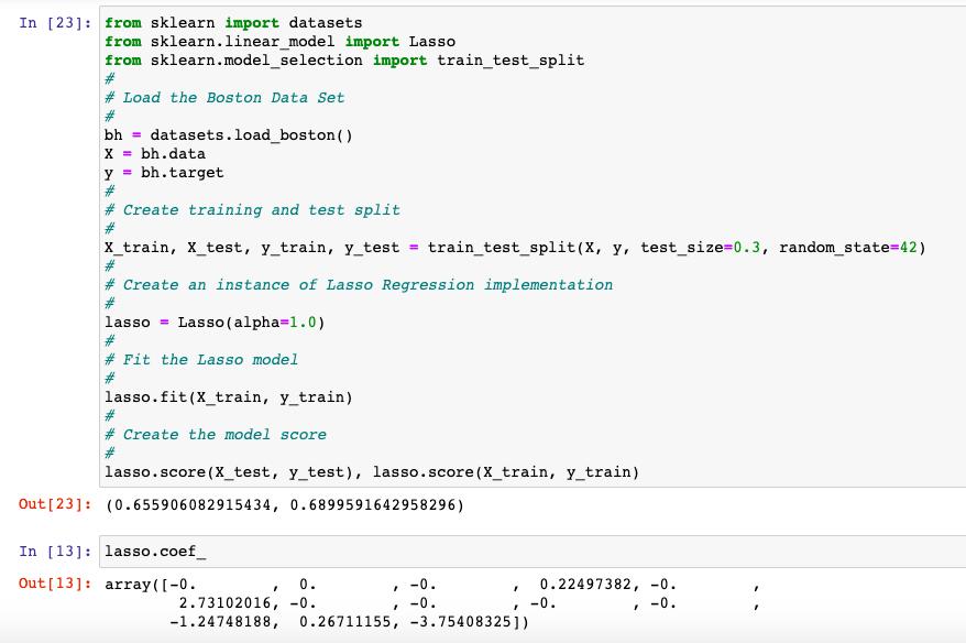 Lasso Regression Coefficients (Some being Zero)
