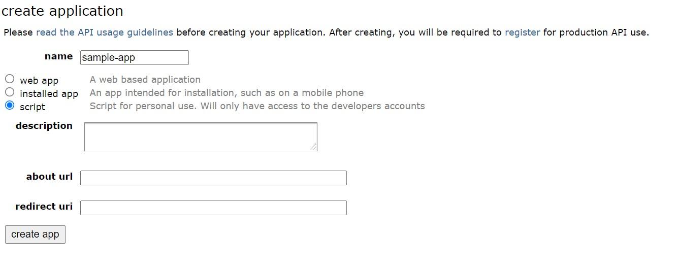Create reddit developer application