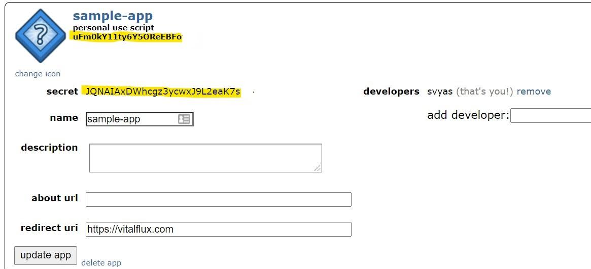 Reddit app client id and secret token